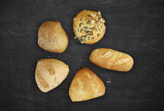 Five different buns Royalty Free Stock Images