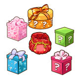 Five different color gift boxes with bows. Vector. Five different color gift boxes with bows for different design needs. Set of six icons on a white background Stock Photo