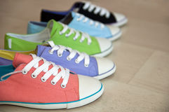 Five different color shoes. On the floor,which taken on May 17th.2010 stock image