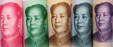 five different face values of Chinese banknotes