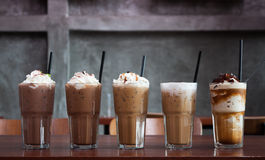 Five different kind of iced coffee Royalty Free Stock Photography