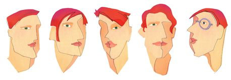Five man`s faces. The five different  man`s faces on white background stock illustration