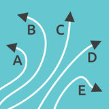 Five different paths concept. Five different paths with letters A, B, C, D and E on turquoise blue background. Confusion, decision, diversity and choice concept Stock Photos