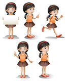 Five different positions of a girl