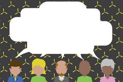Five different race persons sharing speech bubble. Men, women, boy, having conversation each other. Short hair man stock illustration