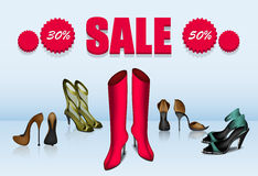 Five different shoes in sale. Red and gold boots, two gold shoes with height stiletto and one green sandals with big sign of sale Royalty Free Stock Image
