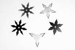 Five different shurikens Royalty Free Stock Photos