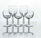 Five different sizes of wine glasses Royalty Free Stock Photos