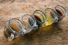 Five different teas in glasses Royalty Free Stock Photography