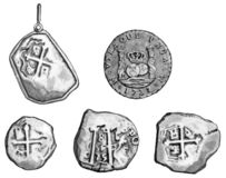 Five different treasure coins. Five different treasure coin illustrations, depicting coins from the 1600's and 1700's Stock Photo
