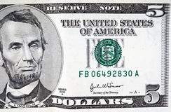 Five dollar bill Royalty Free Stock Photography