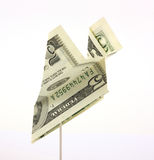 Five dollar bill paper airplane Royalty Free Stock Photo