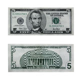 Five dollar bill with path. Both sides of the five dollar bill isolated on white with clipping path