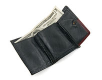 Five dollar bill in a wallet Royalty Free Stock Image