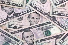 Five Dollar Bills Royalty Free Stock Photos