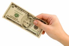 Five dollars. Female hand with five dollars on a white background Royalty Free Stock Photography