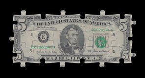 Five dollars. Render of five dollars puzzles on black background Stock Photos
