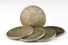 Five dollars. Five silver dollars royalty free stock photo