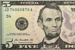 Five dollars banknote closeup Stock Photography