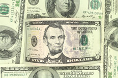 Five dollars bill  background Stock Photos