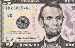 Five dollars bill fragment new edition macro Royalty Free Stock Photos