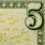 The five dollars details Royalty Free Stock Image
