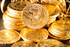 Five Dollars gold coins Stock Photography