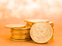 Five Dollars gold coins Stock Photos