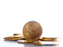 Five Dollars gold coins Royalty Free Stock Photography