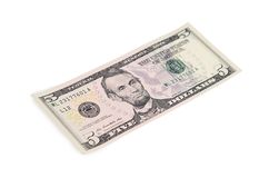 The five dollars isolated on white Stock Image