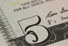 Five dollars macro background Royalty Free Stock Photography