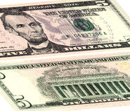 Five dollars USA. The front and the reverse side. stock photos