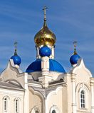 Five-domed church. Russian churches are almost always brightly decorated. Stand out of the dome. They are often coated with a special gold or painted in bright Stock Image