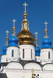 The five-domes of St Sophia-Assumption Cathedral. Tobolsk Kremlin. Tobolsk. Russia. The five-domes of St Sophia-Assumption Cathedral symbolize Christ and the stock image
