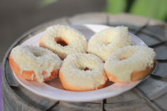 Five donut. Five cream donut in dish Stock Images