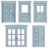 Five doors - blueprints Stock Images
