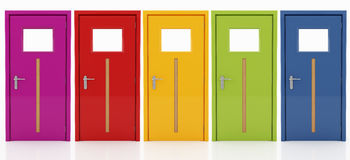 Five doors in  different colors Royalty Free Stock Photography