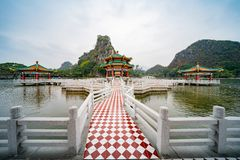 Five dragon pavilion of Seven-star Crags Scenic Area. At Zhaoqing, China stock image
