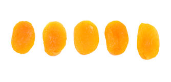 Five dried apricot Stock Image