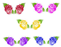 Five duets of roses Stock Images