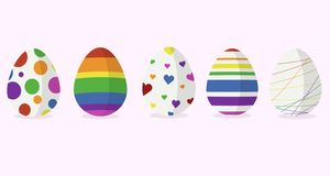 Five easter egg designs in rainbow color stock illustration
