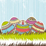 Five easter egg over  green grass Royalty Free Stock Photo