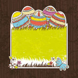 Five easter egg over  green grass Stock Images