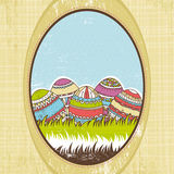 Five easter egg over  green grass, vector Royalty Free Stock Images