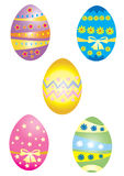Five Easter eggs. Five brightly coloured decorated Easter eggs Stock Image