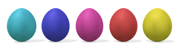 Five easter eggs - with clipping Stock Photography