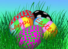 Five easter eggs stock image