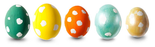 Five Easter eggs in a row Stock Photography