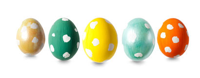 Five Easter eggs in a row Royalty Free Stock Photos