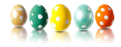 Five Easter eggs in a row Stock Photo